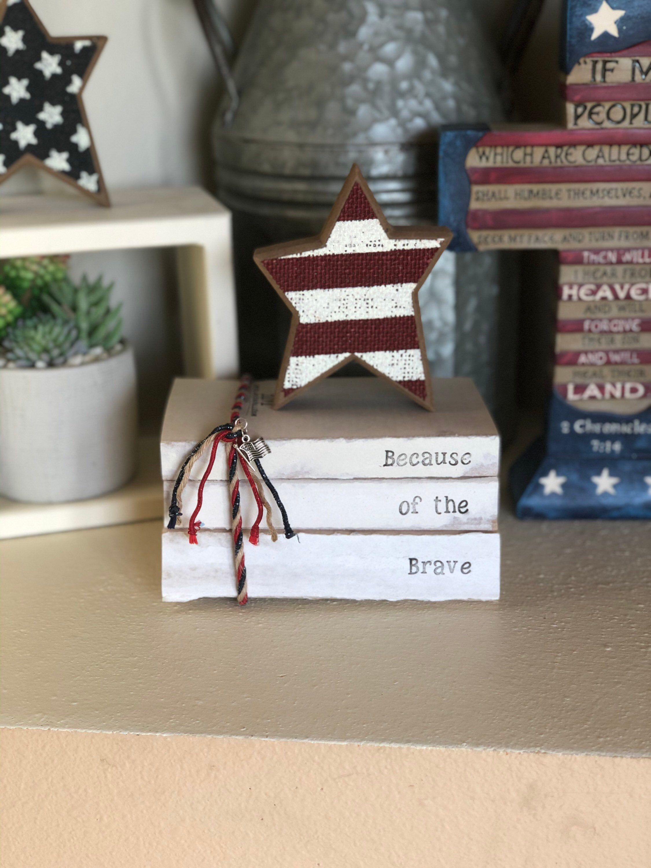 Patriotic Decorative Stamped Book Bundles / Book Stacks can be personalized! $22  #patrioticbookstack #redwhitebluedecor #vintagebarn_nd