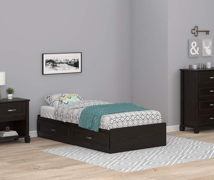 Best Ameriwood Andover Oak Espresso Twin Mates Storage Bed 400 x 300