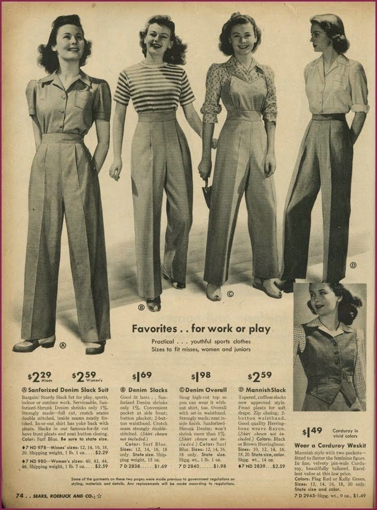Pants and Overalls in 2020 | 1940s outfits, Vintage wear, 1940s fashion