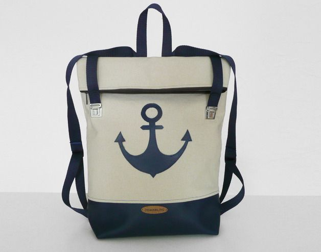 Leinen-Rucksack mit Anker, maritim // linen backpack with anchor by ...