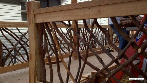 Rustic Mountian Stair Railings: Mountain Laurel Handrail Installed For The Man Caves TV