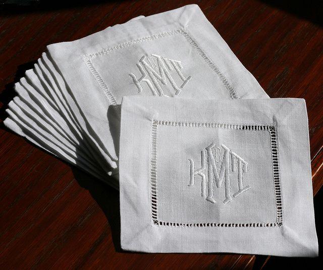 Monogram Embroidered Natural Linen Hemstitched Cocktail Napkins