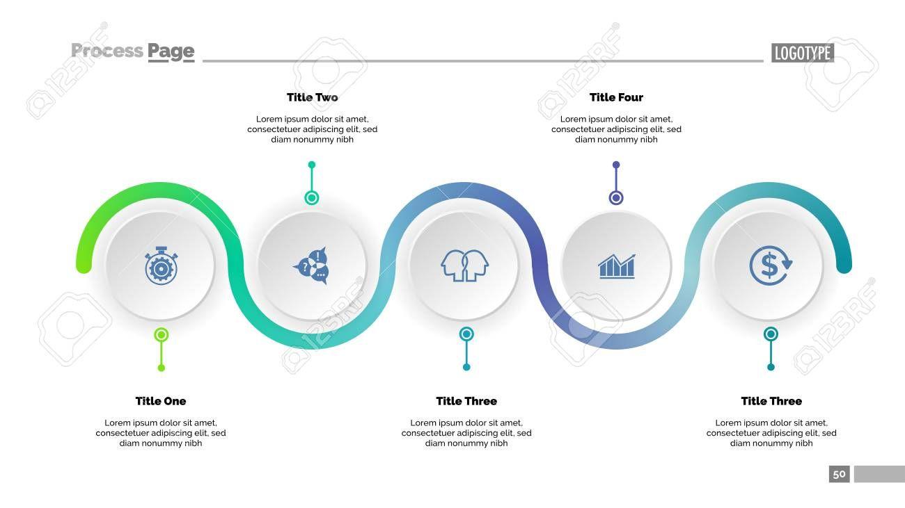 Five Step Process Chart Slide Template Business Data Progress