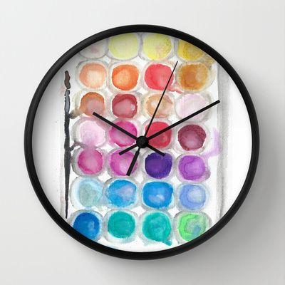 Watercolor+Set+Wall+Clock+by+S.+L.+Fina+-+$30.00