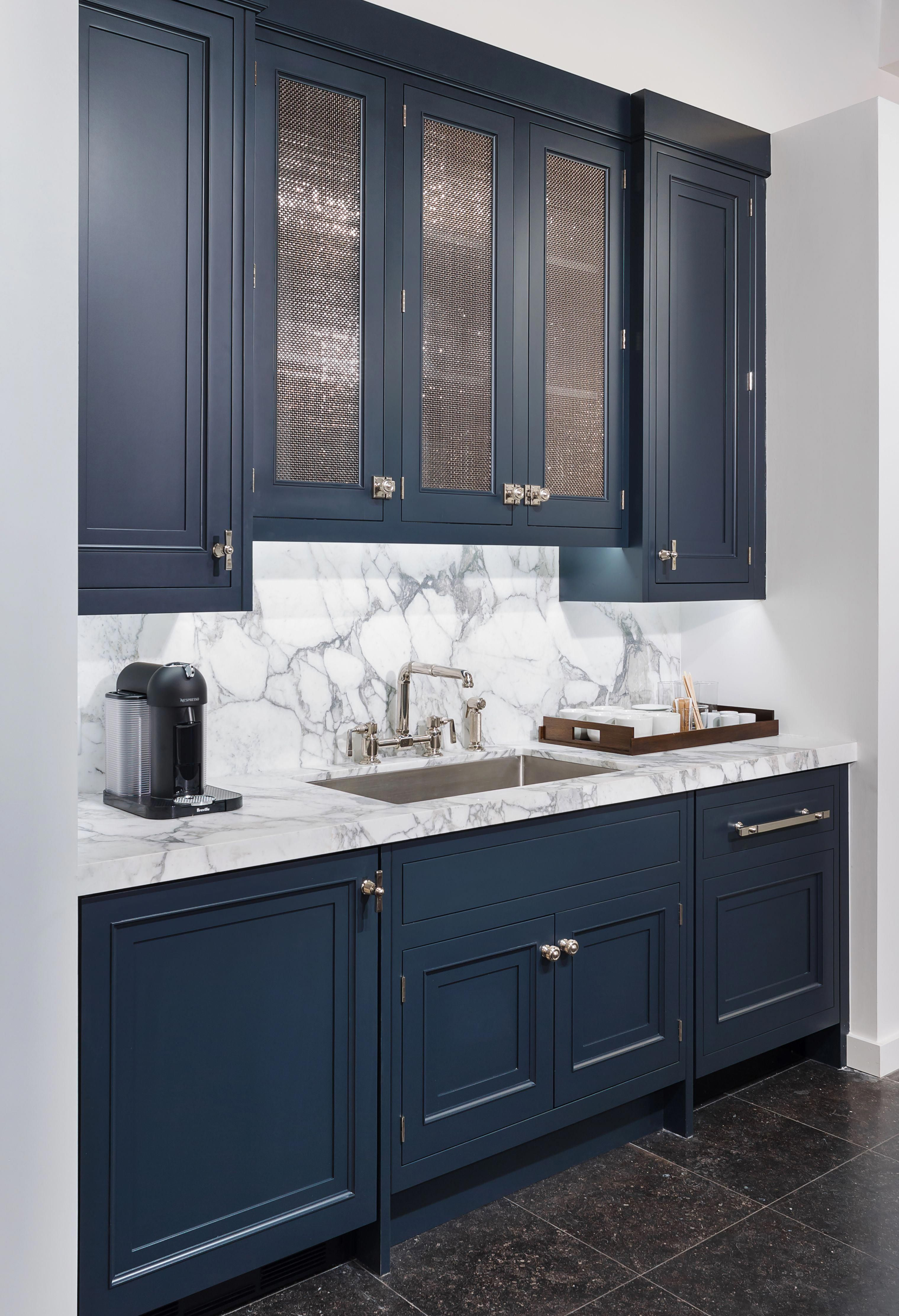 A One Stone Slab Statement Using White Marble Stone Slab And Backsplash From Our Keystone Family P In 2020 Blue Kitchen Cabinets Kitchen Cabinet Design Kitchen Faucet