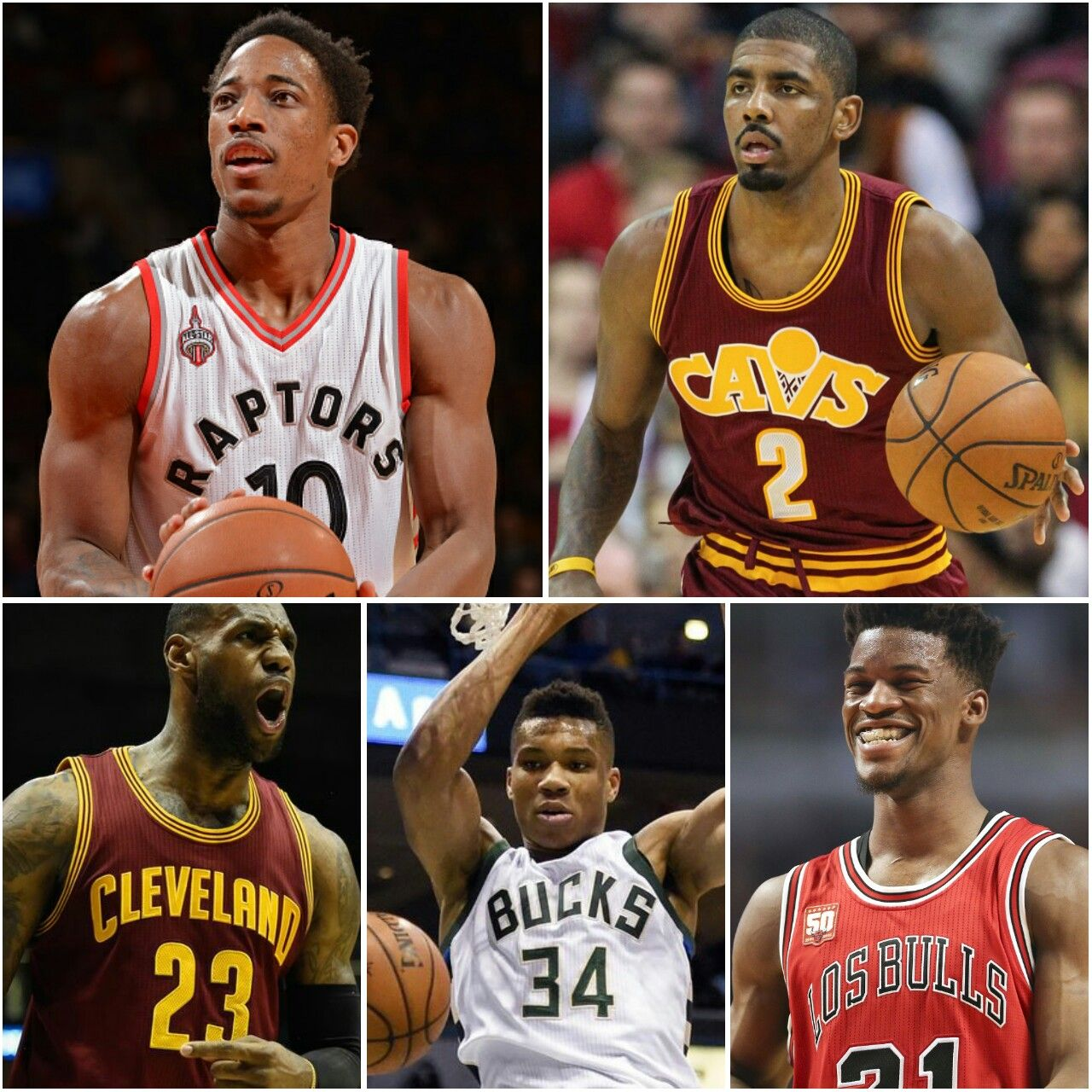 1a64d2c1eb9 2017 NBA All-Star Starting Five - Eastern Conference - Kyrie Irving (G), DeMar  DeRozan (G), Jimmy Butler (FC), Giannis Antetokounmpo (FC), & LeBron James  ...