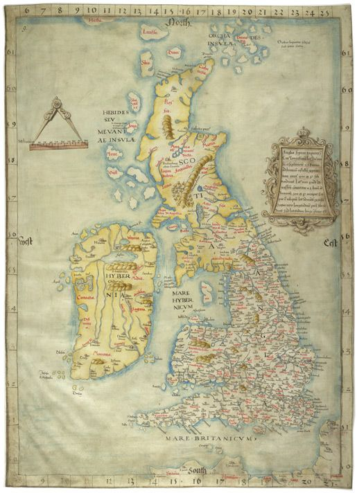 Colored Map of Great Britain and Ireland. Drawn on vellum ...