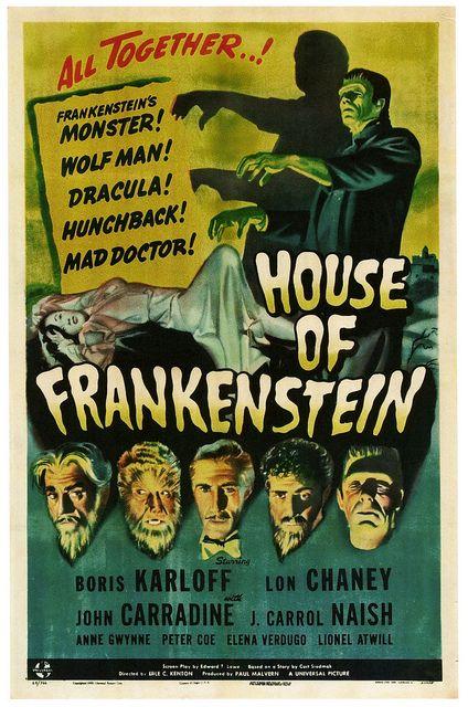 House Of Frankenstein starring Boris Karloff and Lon Chaney, 1944. #vintage #1940s #movies