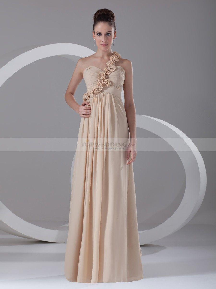 Chiffon wedding dress empire waist  Rosette One Shoulder Long Chiffon Empire Bridesmaid Dress  Empire