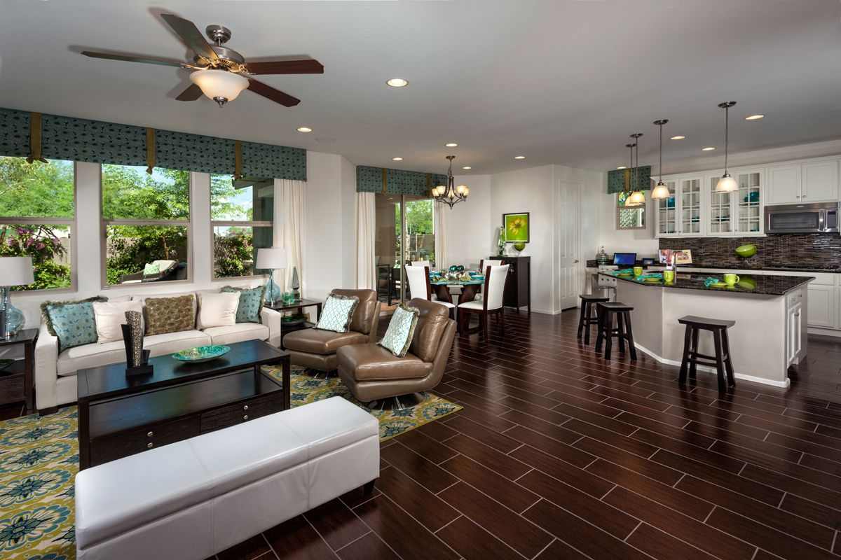 Digging the wood tiled flooring in the Great Room of a model home ...