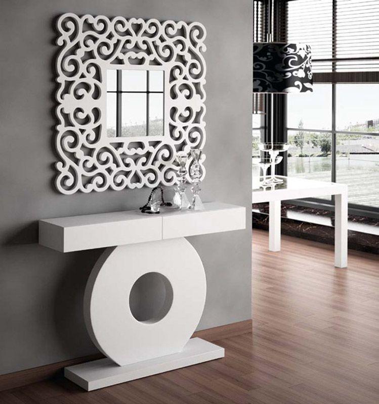 Espejos espejo cl sico sandra coim recibidor for Espejos decorativos blancos