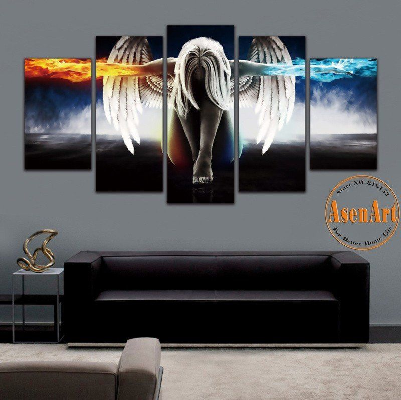 5 panel angel girl anime demons movie poster oil painting canvas