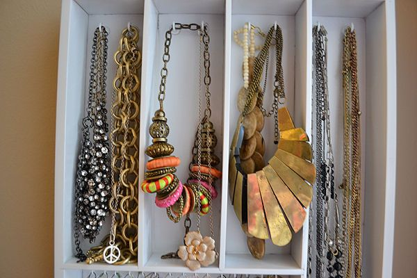 Hanging Jewelry Organizer from Utensil Holder