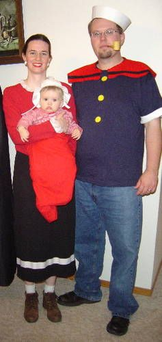 25 diy costumes for a family themed halloween popeye olive oyl popeye olive oyl and swee pea costume solutioingenieria Image collections