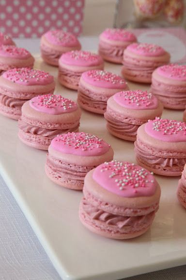 pink  macarons w/ icing and sprinkles!