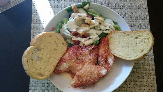 Ricotta stuff shells, classic sauce loaded tossed green salad with toasted garlic bread