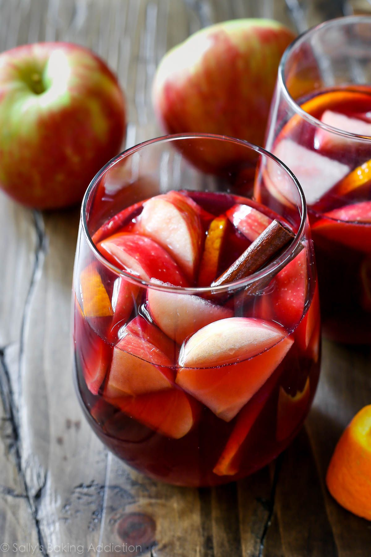 This Sangria Is Thee Drink To Make This Fall It Combines Red Wine Brandy Cinnamon Fall Sangria Recipes Thanksgiving Cocktail Recipes Thanksgiving Cocktails