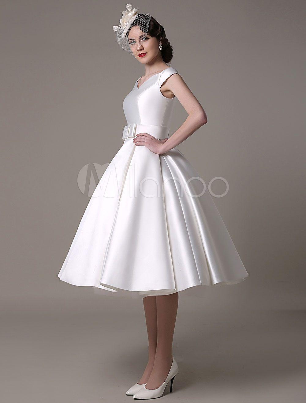 Ivory Wedding Dress Bateau Knee-Length Sash Satin Wedding Gown ...