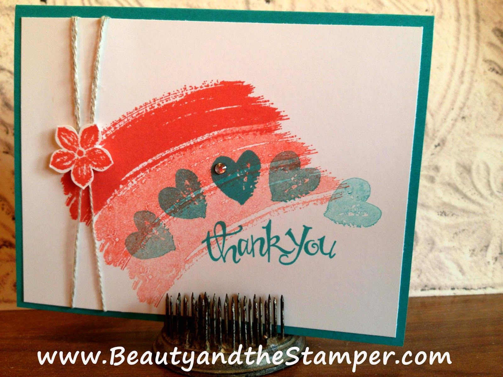 Hand stamped pink thank you cards images card in under two minutes explore hand stamped cards jeans and more m4hsunfo
