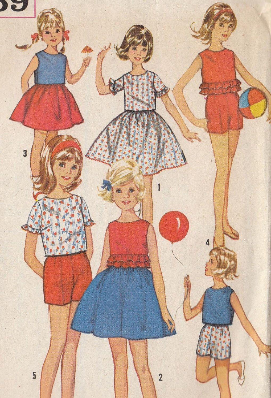 Vintage Sewing Pattern Girls Skirt Top Pants 1960s   Pinterest