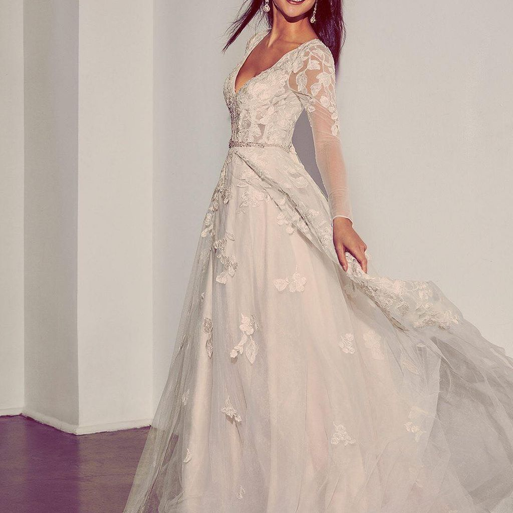 Illusion Sleeve Plunging Ball Gown Wedding Dress David S Bridal Ball Gowns Wedding Ball Gown Wedding Dress Wedding Dress Sleeves [ 1024 x 1024 Pixel ]