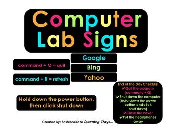 Computer Lab Keyboard Shortcut Signs for Mac and PC's ...