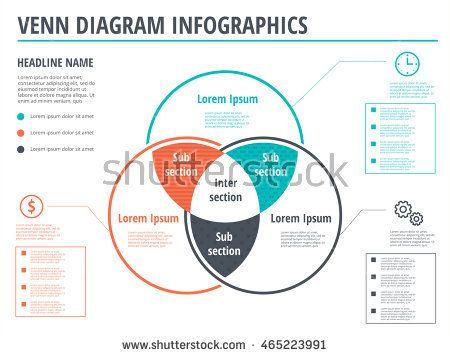 Venn Diagram Circles Infographics Template Design Vector