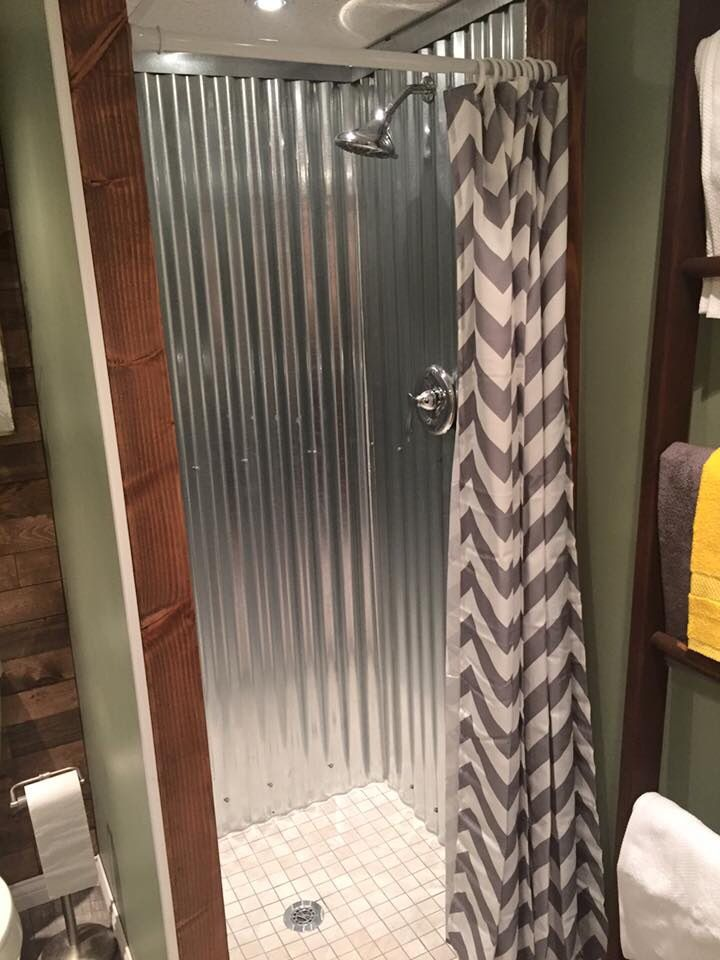Beautiful Galvanized Metal Roofing Lining The Shower Walls Is Amazing
