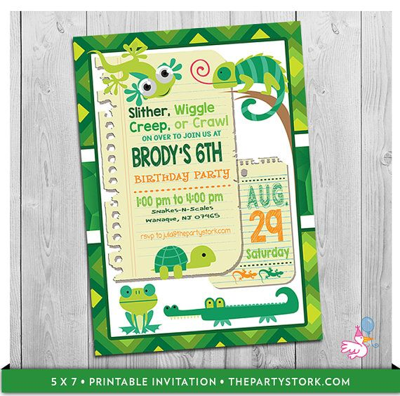 Reptile Party Invitation Printable Boys Alligator Birthday Invitations