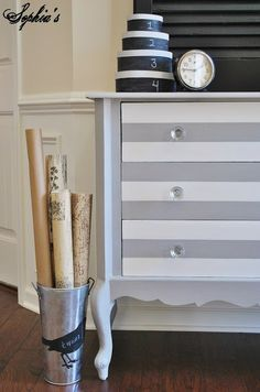 Ideas For Painting Dresser Gray And White Striped Furniture Striped Dresser Redo Furniture