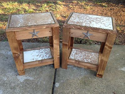 Set Of 2 Occasional End Tables Exotic Brown White Cowhide Western Decor Ebay