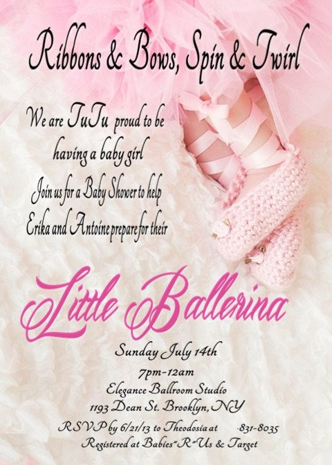 digital file ballerina in a tutu baby shower invitation for girl