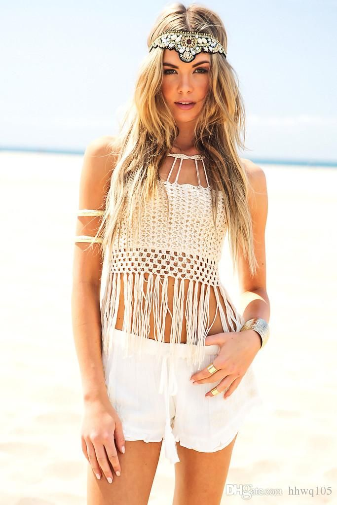 a394b857f6 Ladies Fringes Crochet Beach Top Swimsuit Crop Tops Lace-Up Back Halter  Midi Tank White Bikini Bra Bathing Suit DEF0219 ( 11.87)