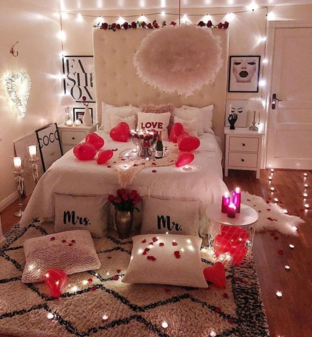 Make Your Bedroom More Romantic With These Romantic Bedroom Decorations Valentines Bedroom Romantic Bedroom Decor Romantic Room Decoration Romantic bedroom lighting ideas