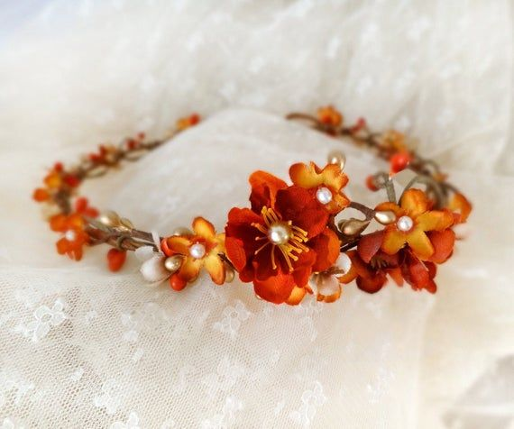 Fall Wedding Hairstyles With Flower Crown: Fall Flower Crown, Fall Floral Headpiece, Autumn Hair