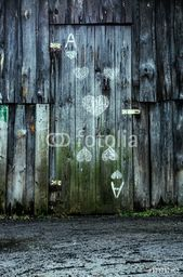 Wall Mural – Old wooden door. Playing card. # 137712862 …-…