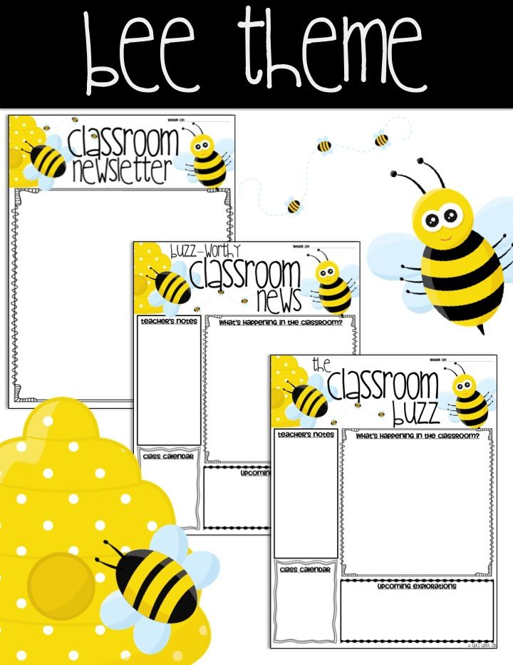 Editable Classroom Newsletter Templates - Bee Theme 12 Templates to - editable classroom newsletter