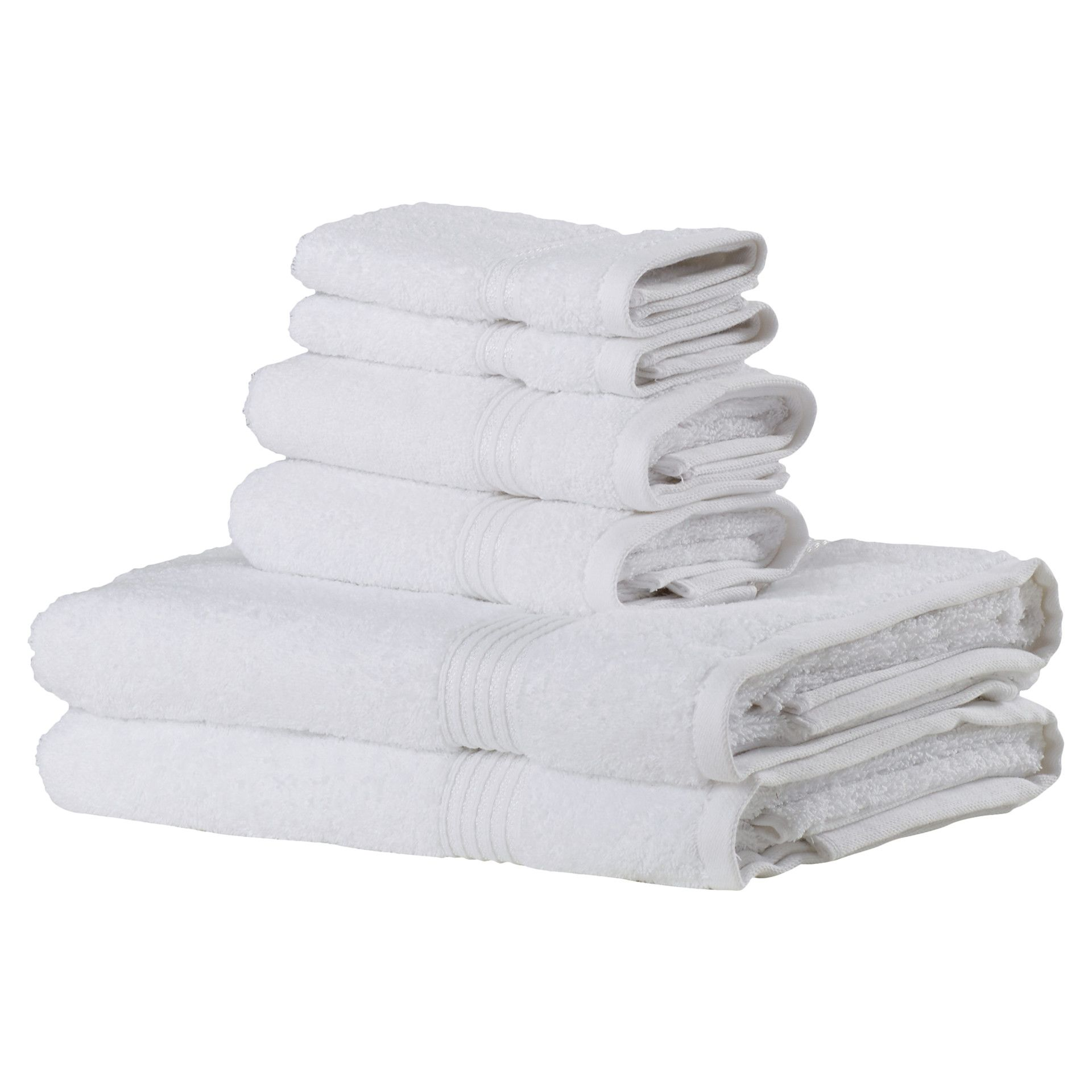 Orla 6 Piece Egyptian Cotton Towel Set White Turkish Towels