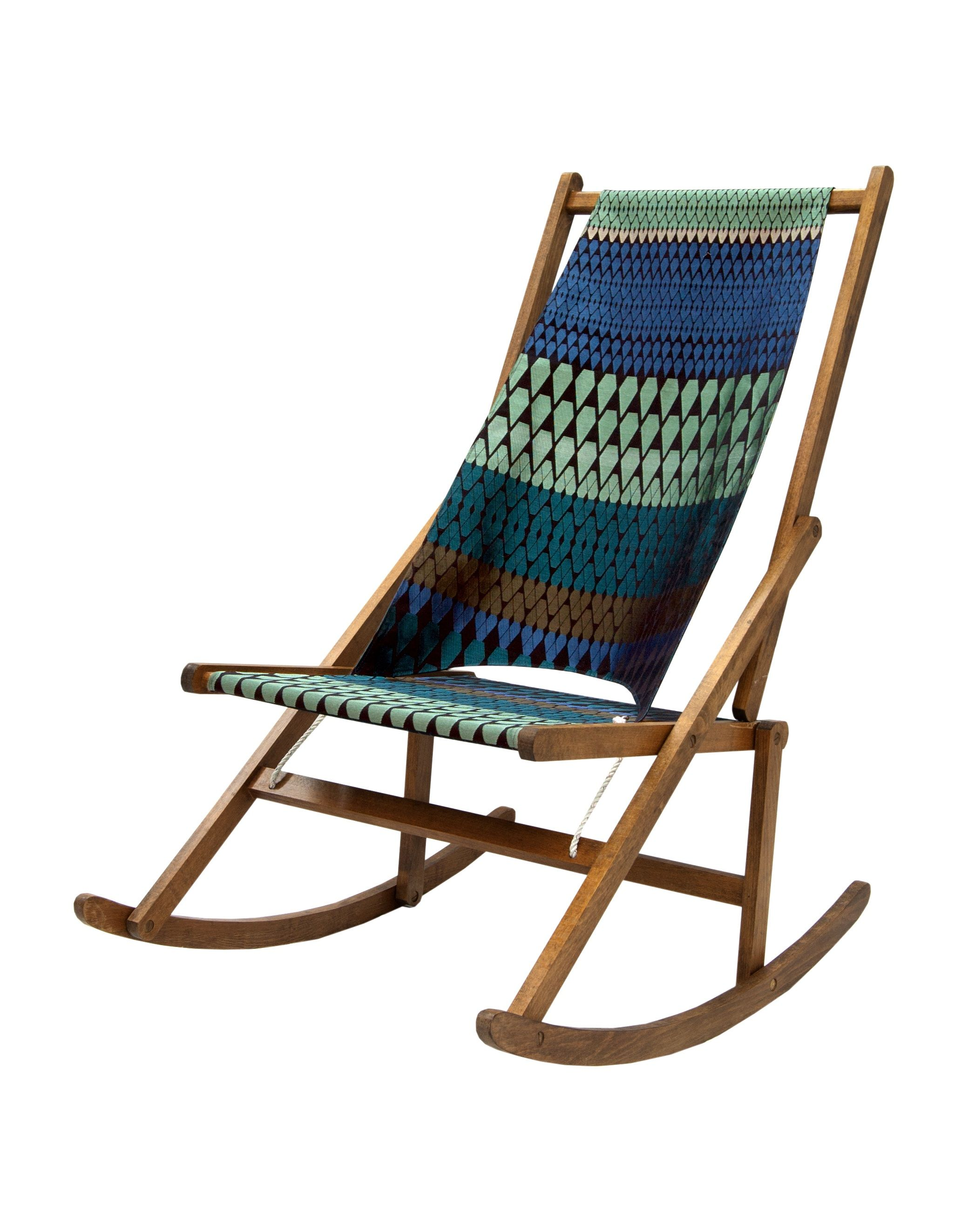 WANT ONE Folding Rocking Chair made by Wawa upholstered in Margo Selby Wo