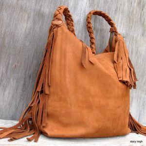 Soft Slouchy Leather Fringe Bag in Tobacco Nubuck