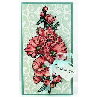 This beautiful card by Pam Hornschu features Stampendous new Jumbo Hollyhock stamp! LOVE Hollyhocks, had them at my wedding!