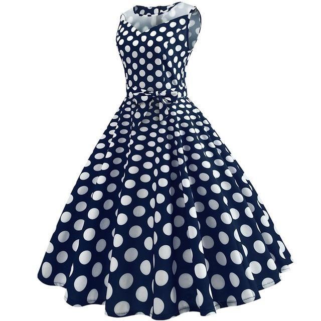 5922873b349 Lace Patchwork Summer Dress Women 2018 Casual Elegant Sleeveless Polka Dot  Party Dresses Retro Swing Vintage Sundress Plus Size