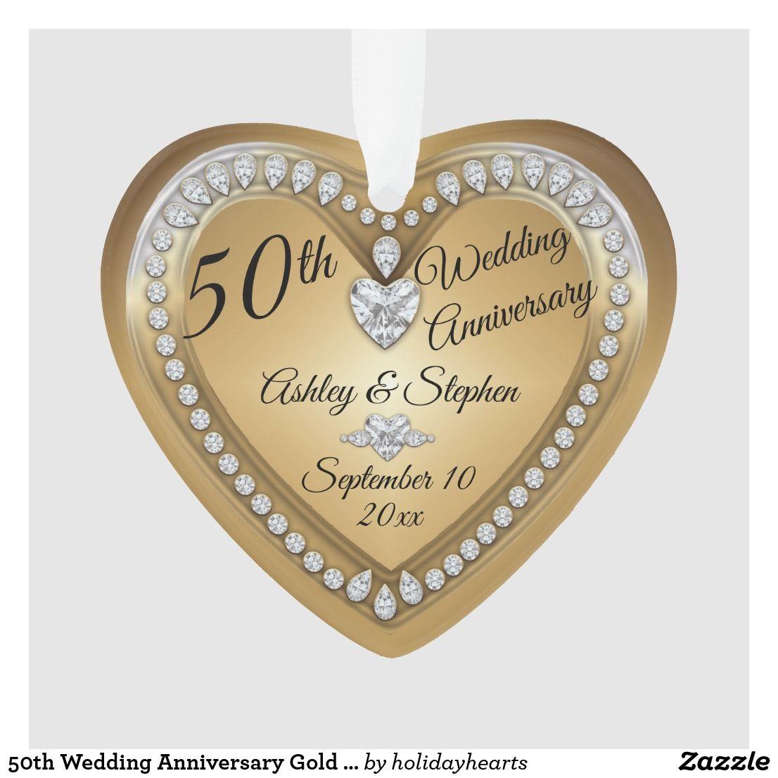 50th wedding anniversary gold diamonds keepsake ornament