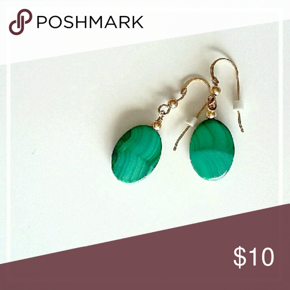 Vintage Malachite Earrings Polished malachite pendant earrings.  Gold tone French wire hooks.  Simple and pretty. Jewelry Earrings