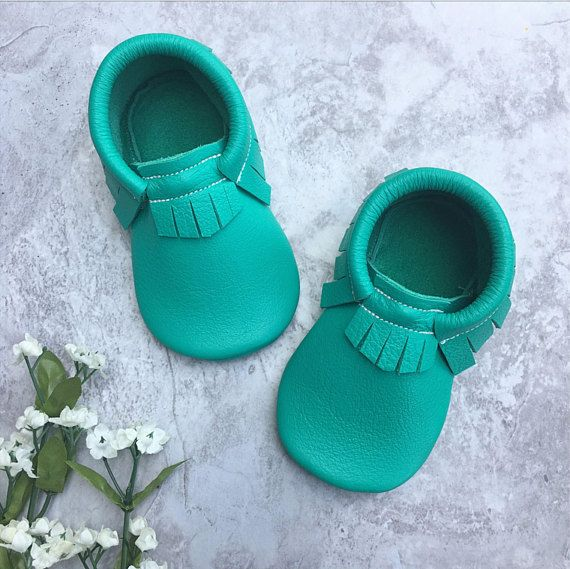 8719e48e12ef1 LAGOON Teal Moccs Angel Baby Moccasins Toddler   Baby: Clothes ...