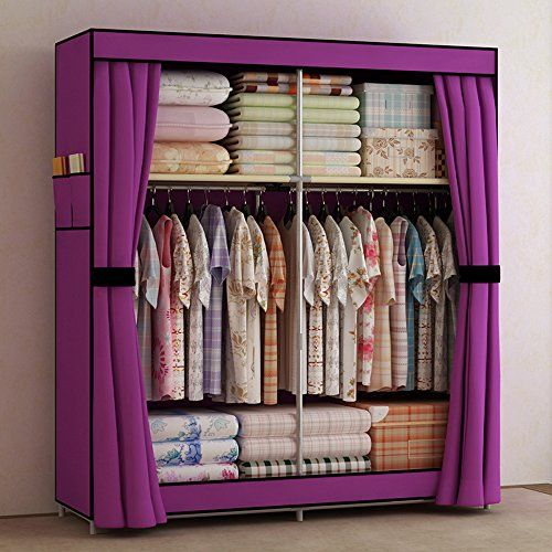 Generic new double portable wardrobe bedroom clothes for Extra closet storage