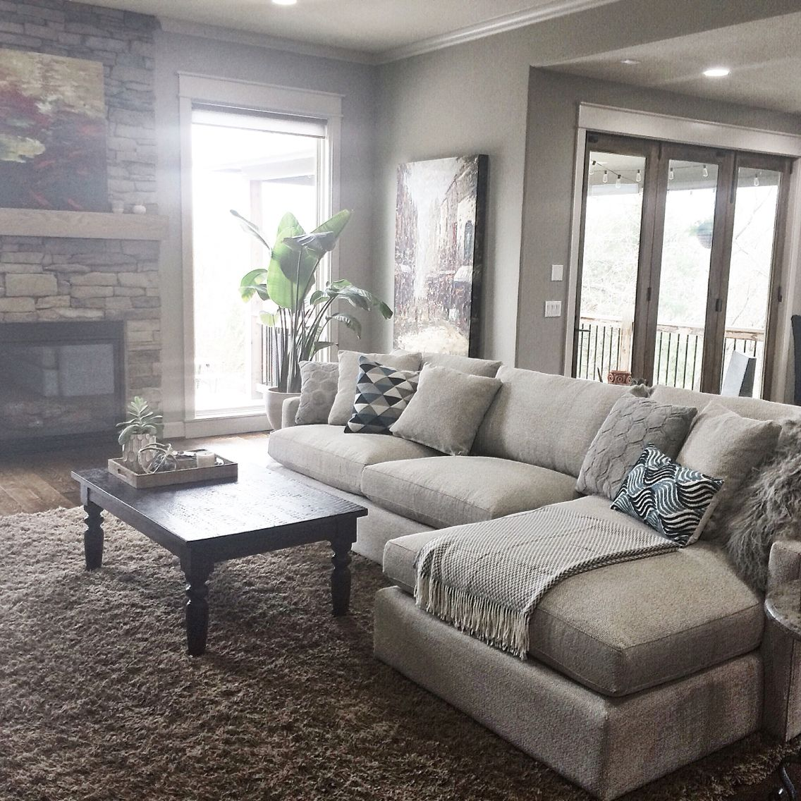 Pottery Barn Living Room With Carpet And Decorative Plant