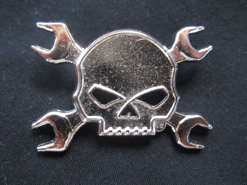 harley davidson h-d willie g skull crossed wrenches vest/hat pin