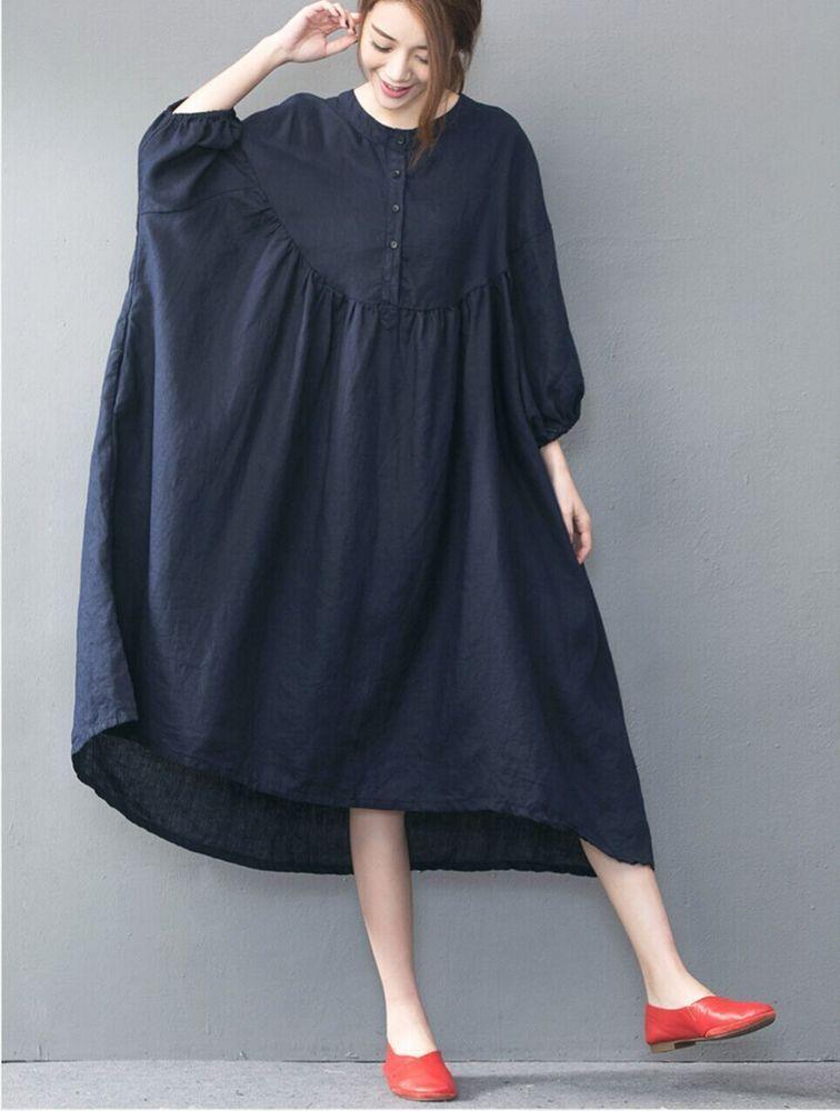 Détails sur B00 Casual oversize ample jupe savait Longueur Lin Robe femme cocktail bleu rouge- afficher le titre dorigine