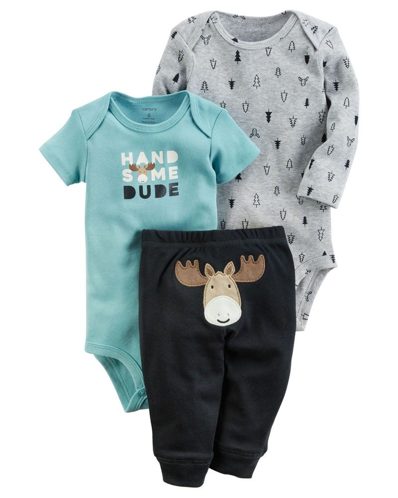 9b32a5c6374d Carters 18 24 Months Moose 3-Piece Bodysuit Pants Set Baby Boy ...